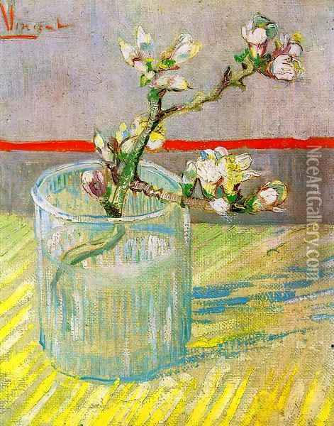 Blossoming Almond Branch in a Glass Oil Painting - Vincent Van Gogh