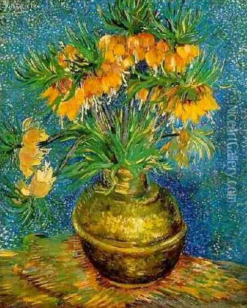 Fritillaries In A Copper Vase Oil Painting - Vincent Van Gogh