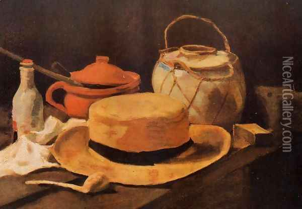 Still Life With Yellow Straw Hat Oil Painting - Vincent Van Gogh