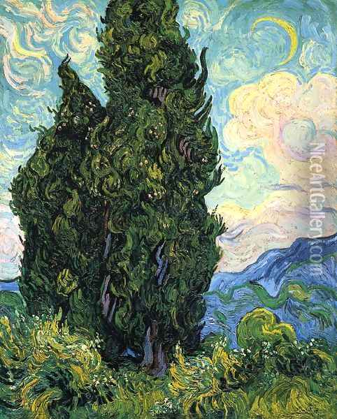 Cypresses Oil Painting - Vincent Van Gogh