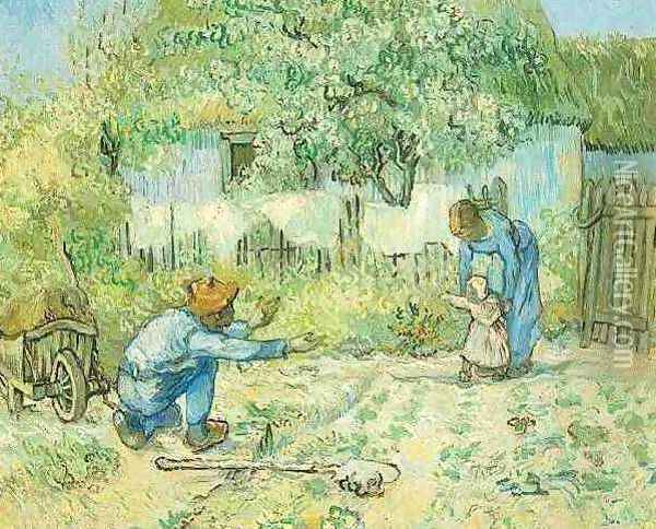 First Steps (after Millet) Oil Painting - Vincent Van Gogh