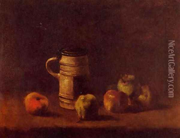 Still Life With Beer Mug And Fruit Oil Painting - Vincent Van Gogh