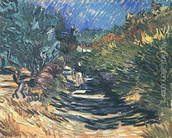 A Road at Saint-Remy with Female Figure Oil Painting - Vincent Van Gogh