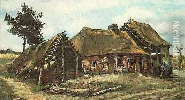 Cottage With Decrepit Barn And Stooping Woman Oil Painting - Vincent Van Gogh