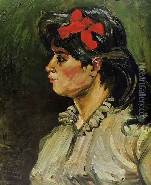 Portrait Of A Woman With Red Ribbon Oil Painting - Vincent Van Gogh