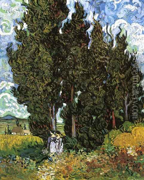 Cypresses With Two Female Figures Oil Painting - Vincent Van Gogh