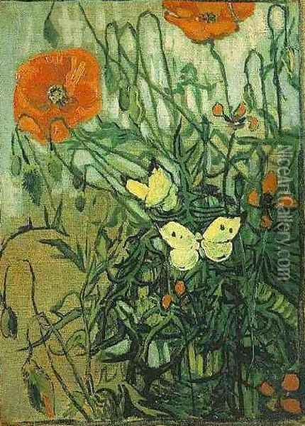 Poppies And Butterflies Oil Painting - Vincent Van Gogh