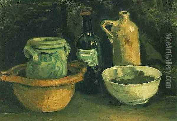 Still Life With Pottery And Two Bottles Oil Painting - Vincent Van Gogh