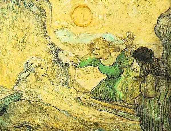 The Raising Of Lazarus (after Rembrandt) Oil Painting - Vincent Van Gogh