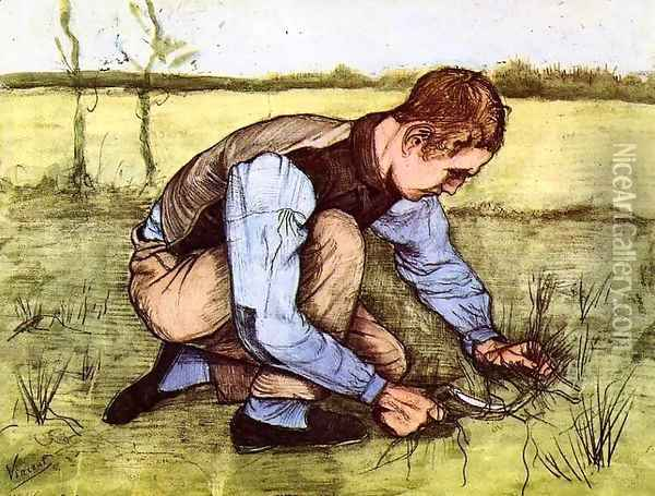 Boy Cutting Grass with a Sickle Oil Painting - Vincent Van Gogh