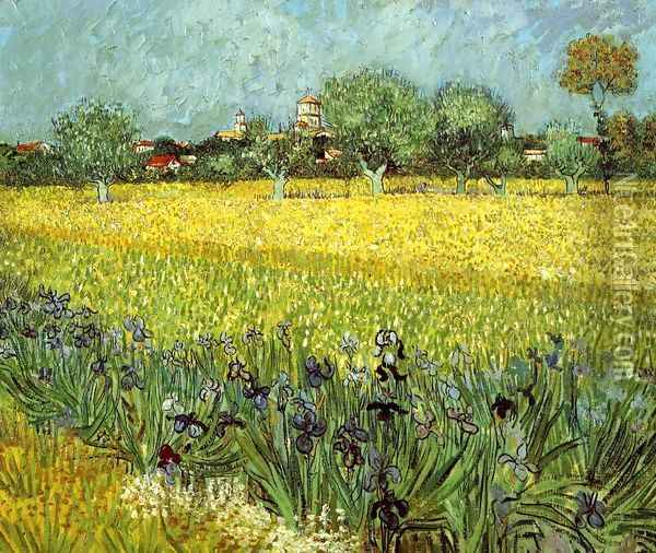 View Of Arles With Irises In The Foreground Oil Painting - Vincent Van Gogh