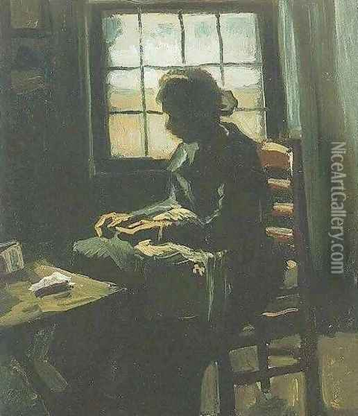 Woman Sewing Oil Painting - Vincent Van Gogh