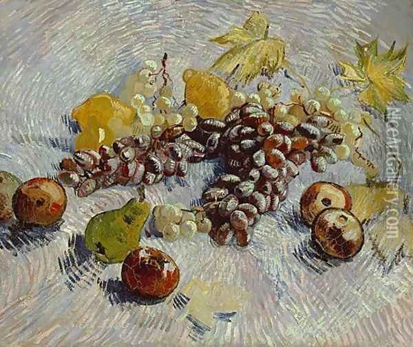 Still Life With Apples Pears Lemons And Grapes Oil Painting - Vincent Van Gogh