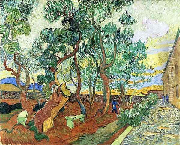 The Garden of the Asylum in Saint-Remy I Oil Painting - Vincent Van Gogh
