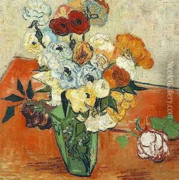 Japanese Vase With Roses And Anemones Oil Painting - Vincent Van Gogh