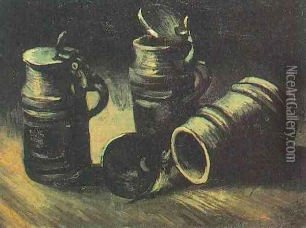 Beer Tankards Oil Painting - Vincent Van Gogh