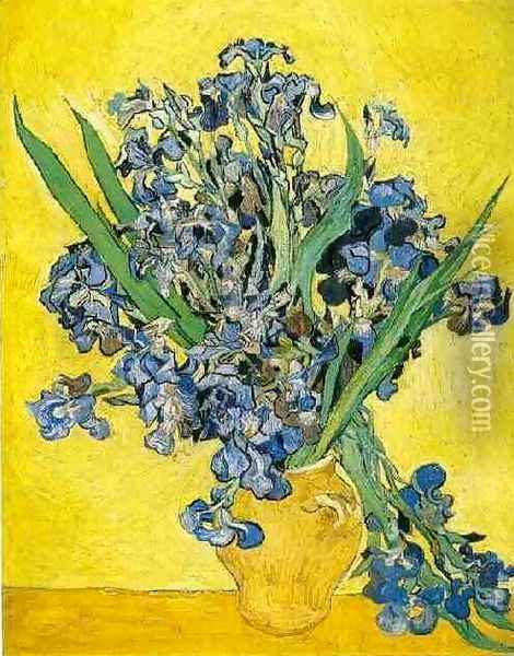 Vase With Irises Against A Yellow Background Oil Painting - Vincent Van Gogh