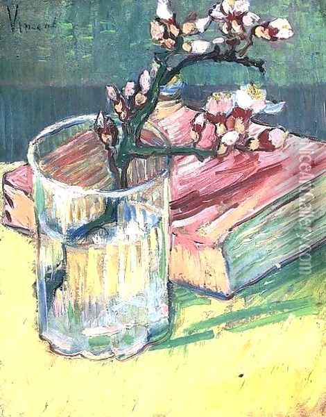 Blossoming Almond Branch In A Glass With A Oil Painting - Vincent Van Gogh