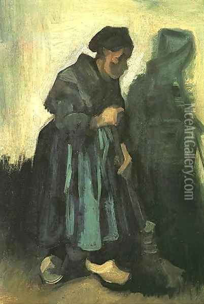 Peasant Woman Sweeping The Floor Oil Painting - Vincent Van Gogh