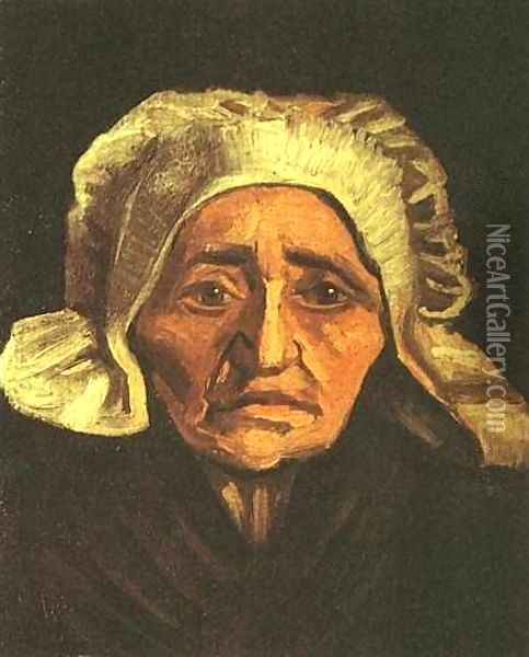 Head Of An Old Peasant Woman With White Cap Oil Painting - Vincent Van Gogh