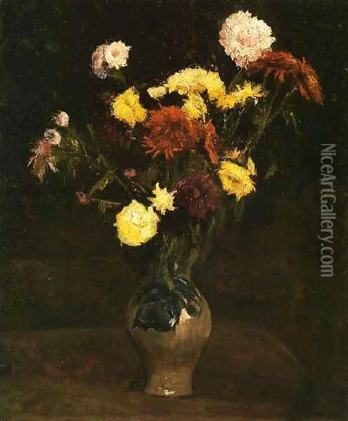 Basket of Carnations and Zinnias Oil Painting - Vincent Van Gogh
