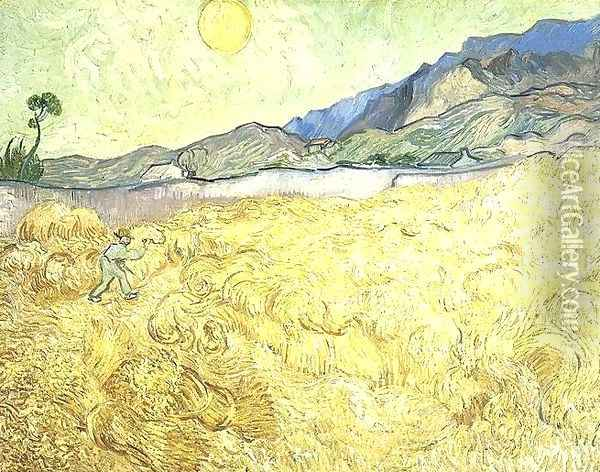 Wheat Fields With Reaper At Sunrise Oil Painting - Vincent Van Gogh
