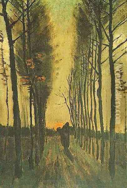 Avenue Of Poplars At Sunset Oil Painting - Vincent Van Gogh