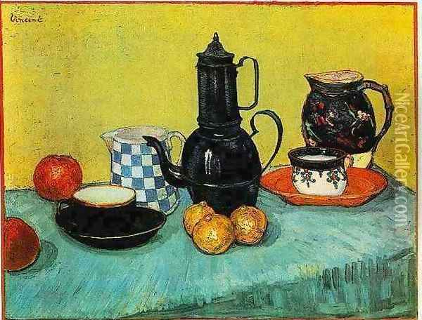 Blue Enamel Coffeepot Earthenware And Fruit Oil Painting - Vincent Van Gogh