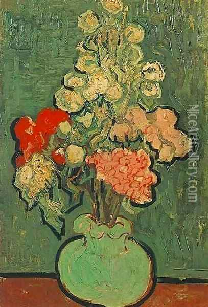 Vase With Rose Mallows Oil Painting - Vincent Van Gogh