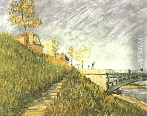 Banks Of The Seine With Pont De Clichy Oil Painting - Vincent Van Gogh