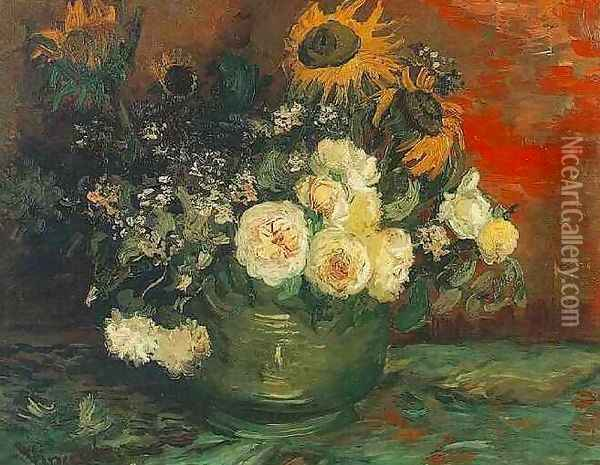 Bowl With Sunflowers Roses And Other Flowers Oil Painting - Vincent Van Gogh