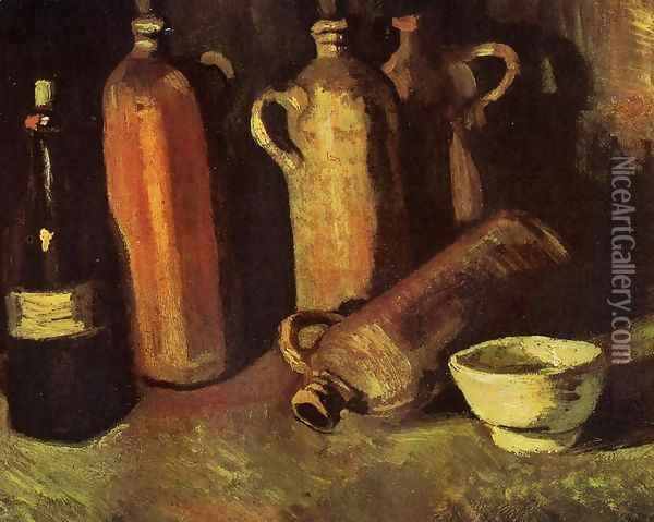 Still Life With Four Stone Bottles Flask And White Cup Oil Painting - Vincent Van Gogh