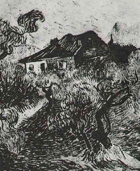 The White Cottage Among The Olive Trees Oil Painting - Vincent Van Gogh