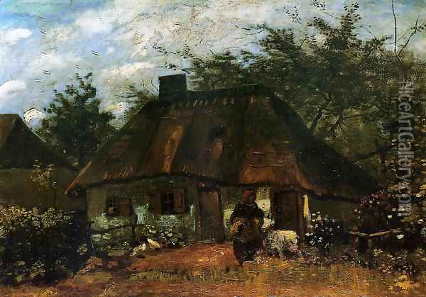Cottage And Woman With Goat Oil Painting - Vincent Van Gogh