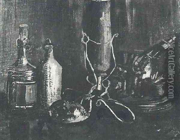 Still Life With Bottles And A Cowrie Shell Oil Painting - Vincent Van Gogh