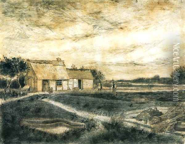 Barn with Moss-Covered Roof Oil Painting - Vincent Van Gogh
