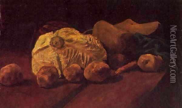 Still Life With Cabbage And Clogs Oil Painting - Vincent Van Gogh