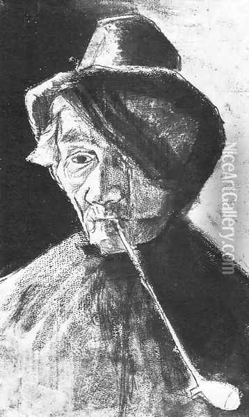 Man with Clay Pipe and Bandaged Eye Oil Painting - Vincent Van Gogh