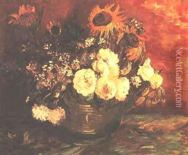 Bowl of Sunflowers, Roses and other Flowers Oil Painting - Vincent Van Gogh