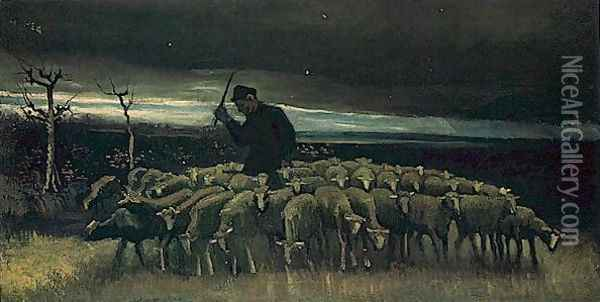 shepherd with a flock of sheep 1884 Oil Painting - Vincent Van Gogh