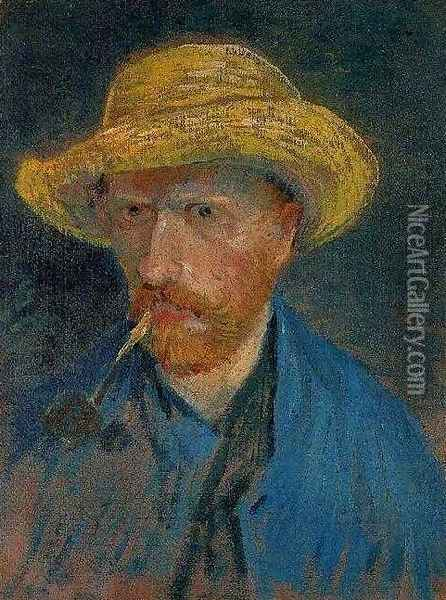 Self Portrait With Straw Hat And Pipe Oil Painting - Vincent Van Gogh