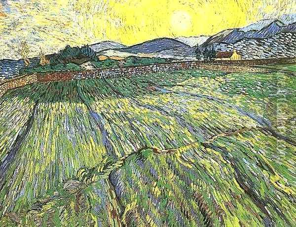 Enclosed Field With Rising Sun Oil Painting - Vincent Van Gogh