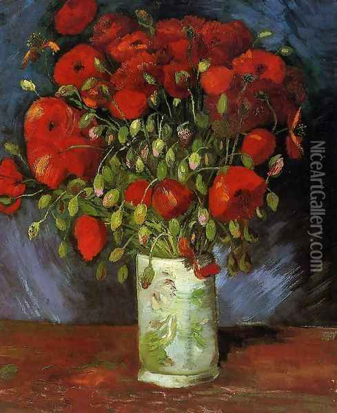 Vase With Red Poppies Oil Painting - Vincent Van Gogh