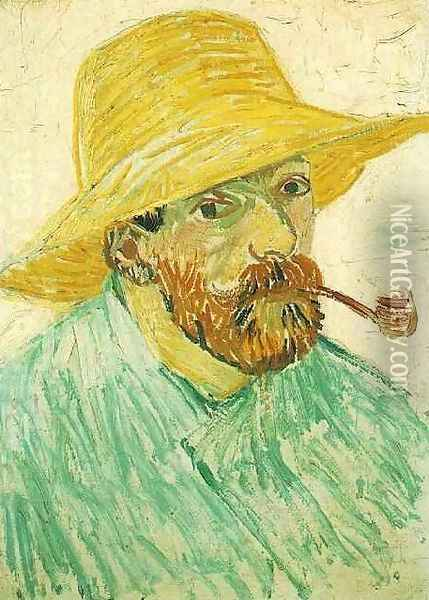 Self Portrait With Pipe And Straw Hat Oil Painting - Vincent Van Gogh