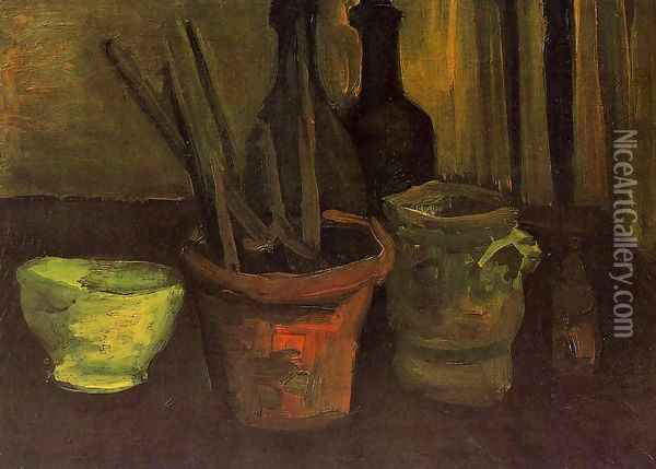 Still Life With Paintbrushes In A Pot Oil Painting - Vincent Van Gogh