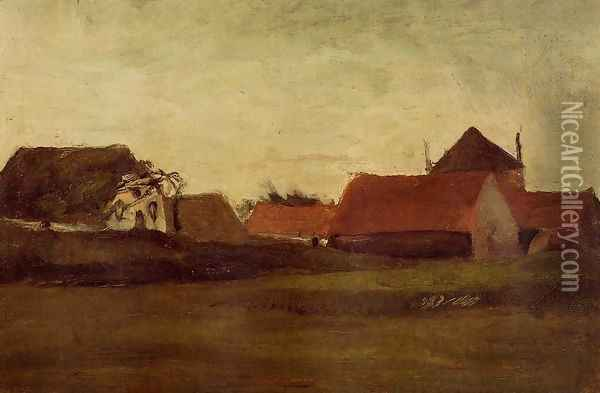 Farmhouses In Loosduinen Near The Hague At Twilight Oil Painting - Vincent Van Gogh
