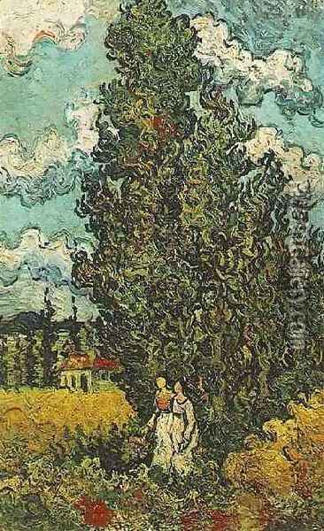 Cypresses And Two Women Oil Painting - Vincent Van Gogh