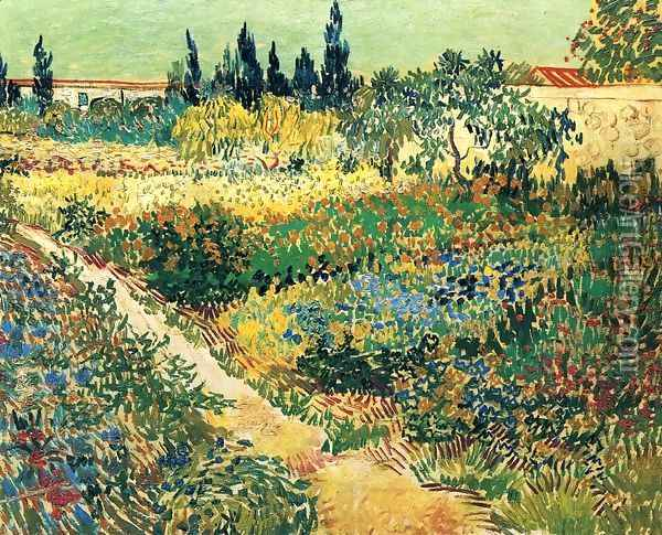 Garden with Flowers Oil Painting - Vincent Van Gogh