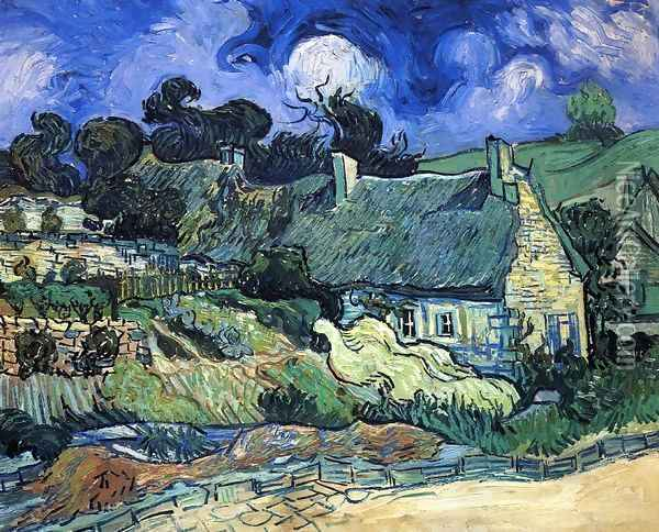 Houses with Thatched Roofs, Cordeville Oil Painting - Vincent Van Gogh