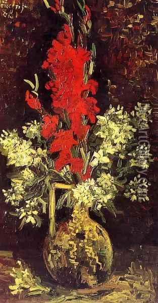 Vase With Gladioli And Carnations II Oil Painting - Vincent Van Gogh